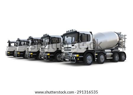 Isolated image of concrete mixer trucks on white background. This is three dimensional scene design.