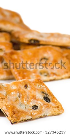 Isolated image of delicious cookies closeup - stock photo