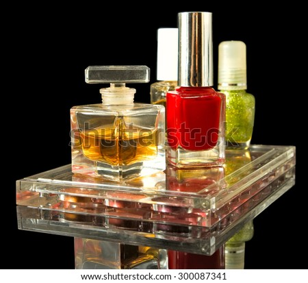 Isolated image of different cosmetics and perfume