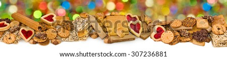 Isolated image of different delicious cookies - stock photo