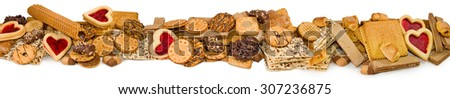 Isolated image of different delicious cookies closeup - stock photo