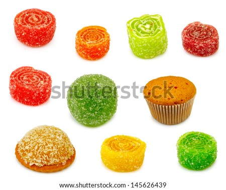 Isolated image of different sweets on a white background - stock photo
