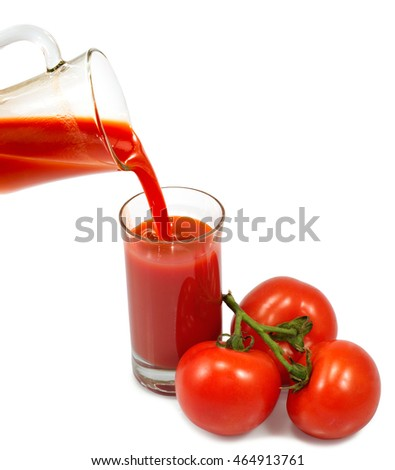 Isolated image of glass of tomato juice and tomatoes close-up