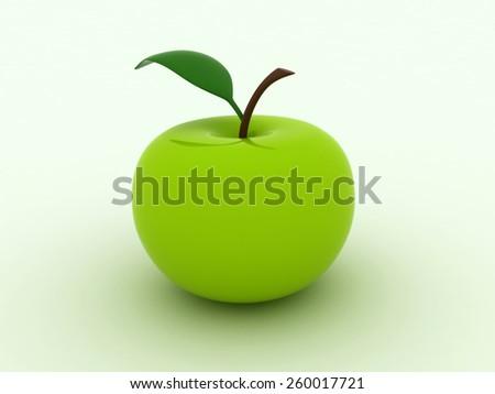 Isolated image of green juicy apple - stock photo