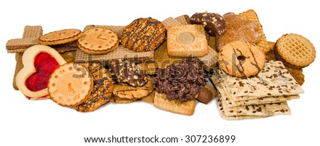 Isolated image of many different delicious cookies closeup - stock photo