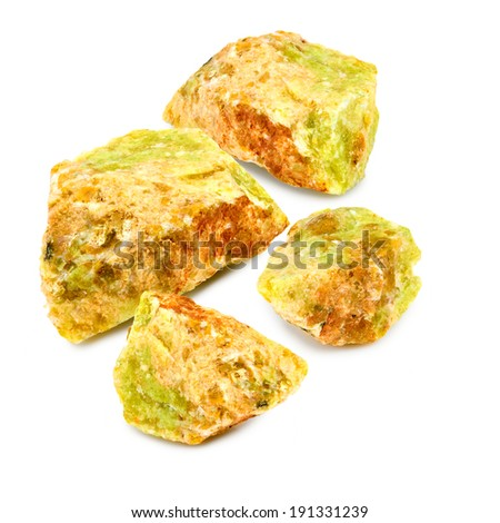 Isolated image of many opals stone on a white background closeup - stock photo