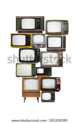 isolated image of many vintage televisions with empty screen glass for text or graphic - stock photo