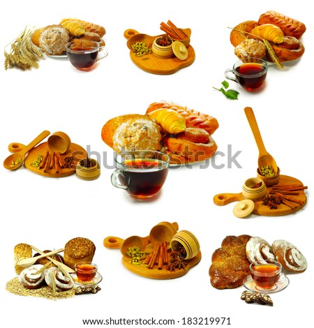 Isolated image of mix cups of tea and bakery products on white background