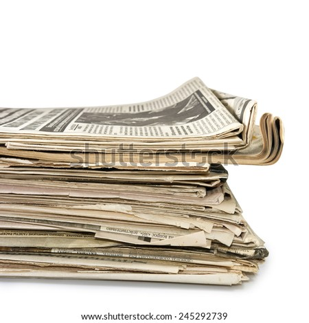 Isolated image of newspapers - stock photo