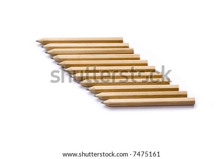 Isolated image of pencils diagonal on white background