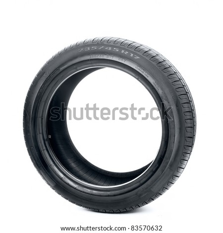 Isolated image of radial tire - stock photo