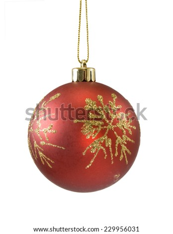 Isolated image of red Christmas ball on a white background