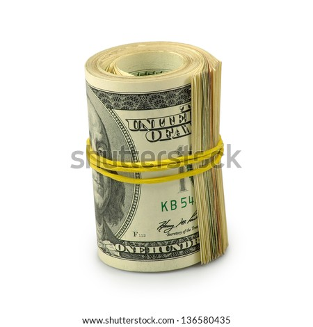 Isolated image of rolls of dollars on  white background