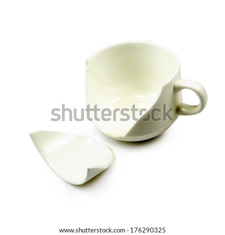Isolated image of the broken cup on white background - stock photo