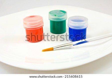 isolated image of three colors on a plate - stock photo