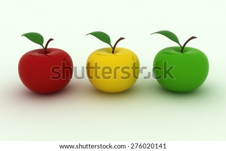 Isolated image of three juicy apples - stock photo