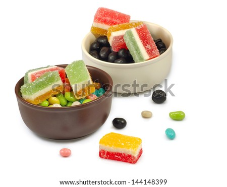 Isolated image of two bowls of candy