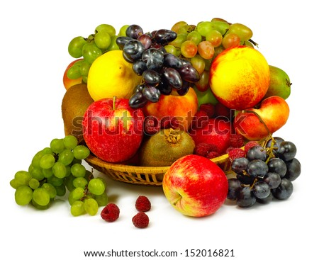 Isolated image of vegetables and fruits in a plate