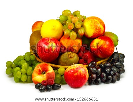 Isolated image of vegetables and fruits in a plate - stock photo