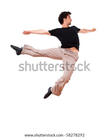 Isolated In motion jump 3 - stock photo