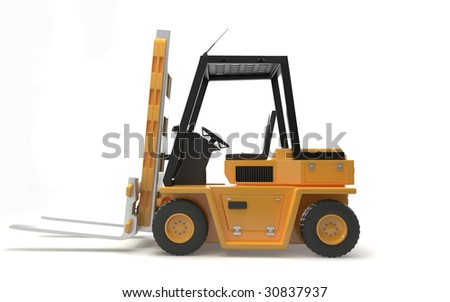 isolated industrial fork lift on white background - stock photo