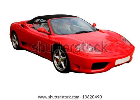 isolated italian red convertible supercar on white background - stock photo