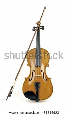 Isolated italian wooden violin in white background - stock photo