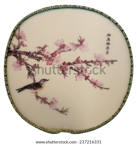 Isolated Japanese hand fan against a white background  - stock photo