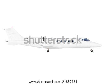 isolated Jet airplane on a white background - stock photo