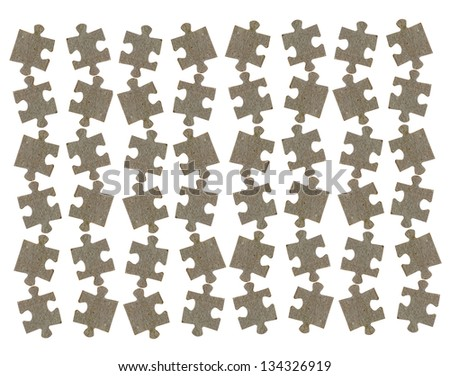 Isolated jigsaw puzzle pieces background - stock photo