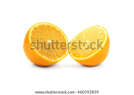 Isolated juicy ripe orange slices on white background