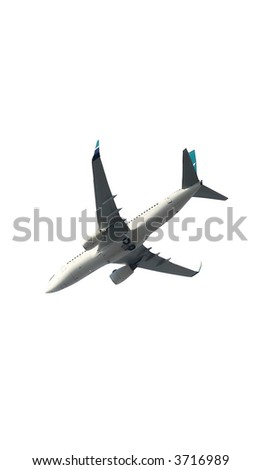 Isolated jumbo jet aircraft on white - stock photo