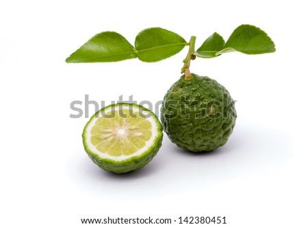 isolated kaffir lime on white background - stock photo