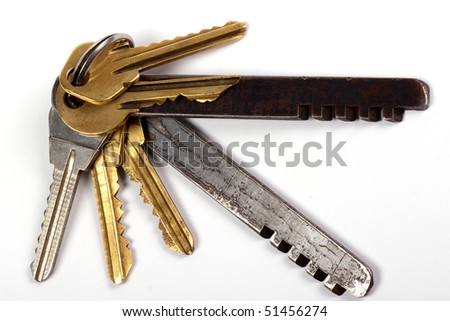 Isolated keys of the house on a white background