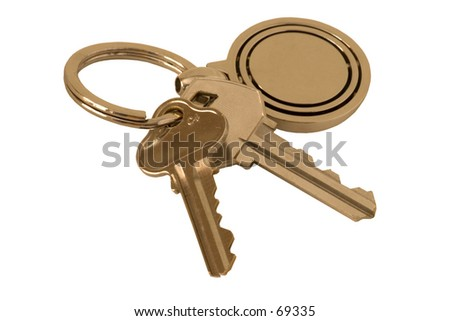 Isolated keys on white background.