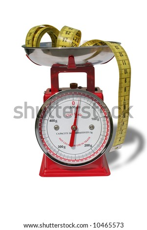 Isolated kitchen scale and tape-measure on white background. - stock photo