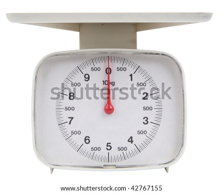 isolated kitchen scale with clipping path - stock photo
