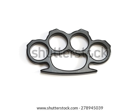 isolated knuckle-duster white background - stock photo