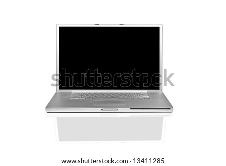 Isolated Laptop Computer With Blank Screen For Your Own Message - stock photo
