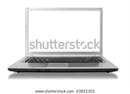 isolated laptop on a white background - stock photo