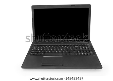 isolated  laptop with black monitor on a white background