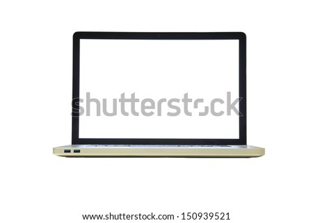 isolated laptop with blank space in white background - stock photo