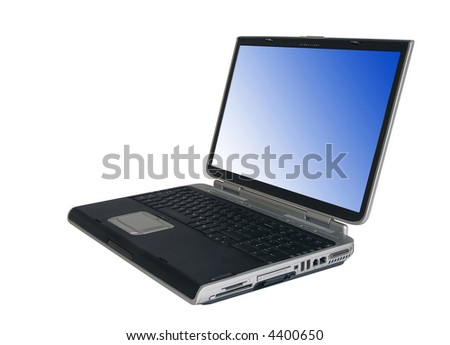 Isolated laptop with clipping path for computer and screen.