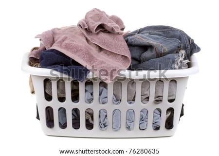isolated laundry basket - stock photo