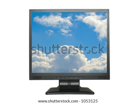 isolated LCD with blue cloudy sky - stock photo