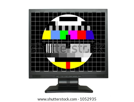 isolated LCD with test screen - stock photo
