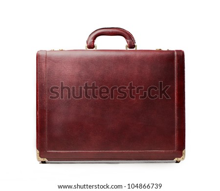 Isolated leather briefcase - stock photo