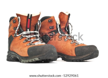 isolated leather mountaineering boots - stock photo