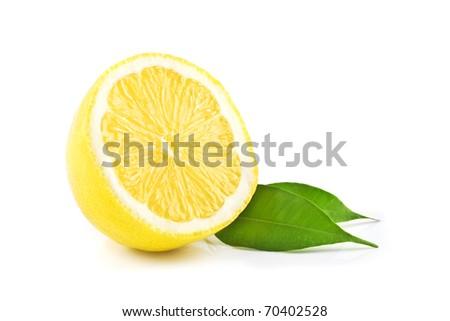 Isolated lemon on white - stock photo