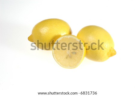 Isolated lemons, nice yellow vitamins